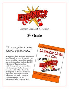 """BANG!"" Common Core Math Vocabulary 5th Grade Game Packet"