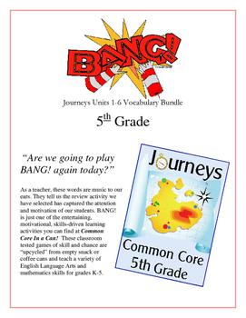 """BANG!"" Houghton Mifflin Journeys 5th Grade Units 1-6 Vocab Bundle Packet"