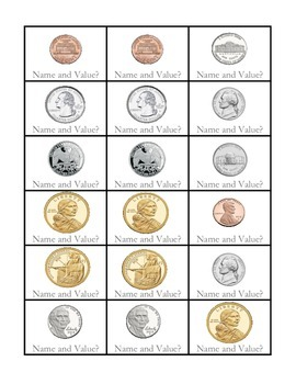 """BANK!"" Coin Identification 2nd Grade Common Core Game Packet"