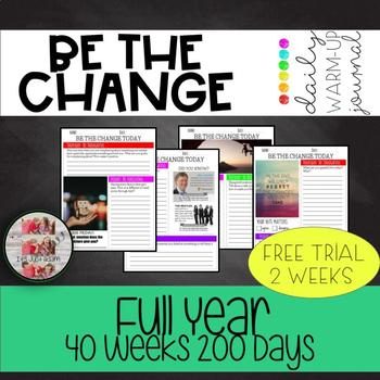 BE THE CHANGE daily activities warm up morning meeting sel