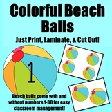 Colorful Beach Balls With/Without Number  {Classroom Mgt.}