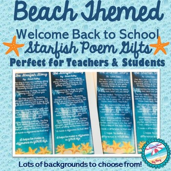 *BEACH* Starfish Poem Welcome Back Gifts for Teachers & Students *NEWLY UPDATED*