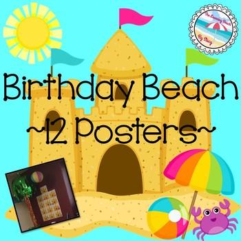 **BEACH Theme** AQUA Birthday BEACH Sandcastle Posters 1 for Every Month!