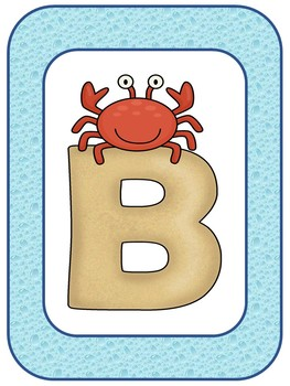 **BEACH Themed** ALPHABET LINE {2 Options} Watery Blue w/ Sandy Beach Letters