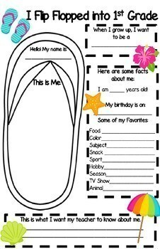 *BEACH Themed* BACK TO SCHOOL Flip Flop Poster Glyph {Color or BW Options}