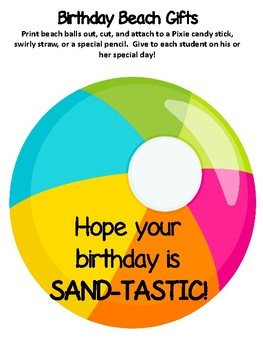 **BEACH Themed** Birthday Beach Gifts: Hope Your Birthday is SAND-TASTIC!