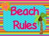 *BEACH Themed* Bright & Colorful Beach Rules {6 Posters}