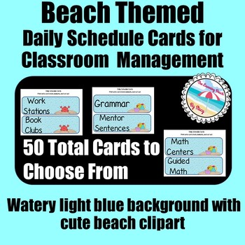 **BEACH Themed** Daily Schedule Cards {50 Cards Total} Watery Blue Background
