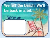 **BEACH Themed** Watercolor Beach:  We Left the Beach Poster & Cards