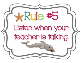 **BEACH FREEBIE** Beach Rules 7 Posters with Dolphins & Starfish