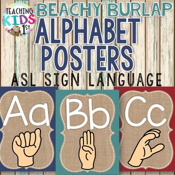 {BEACHY BURLAP} Alphabet Posters with ASL Sign Language