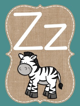 {BEACHY BURLAP} Alphabet Posters with pictures