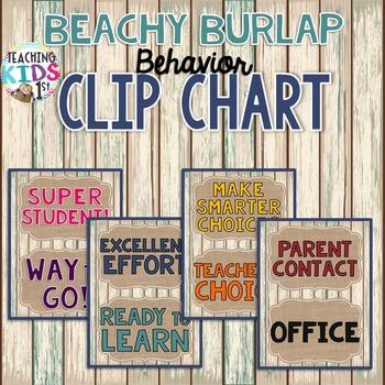 {BEACHY BURLAP} Behavior Clip Chart