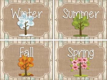 {BEACHY BURLAP} Calendar Set