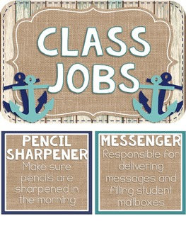 {BEACHY BURLAP} Editable Classroom Jobs Set