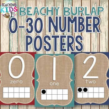 {BEACHY BURLAP} Number Posters 0-30 with tens frames