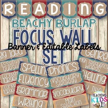{BEACHY BURLAP} Reading Focus Wall Set