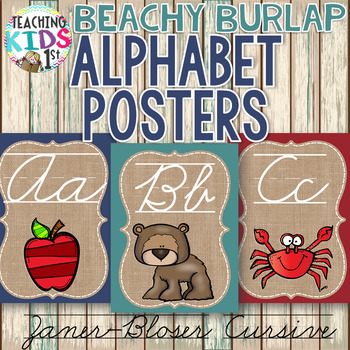 {BEACHY BURLAP} Zaner-Bloser Cursive Alphabet Posters with pictures