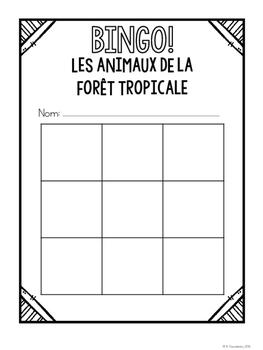 {BINGO: Les Animaux de la forêt tropicale} A vocabulary-review game!