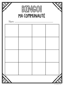 {BINGO: Ma Communauté} A game to practice vocabulary about the community