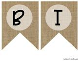 """""""BIRTHDAYS"""" Farmhouse Burlap Focus Wall Pennant / Banner"""