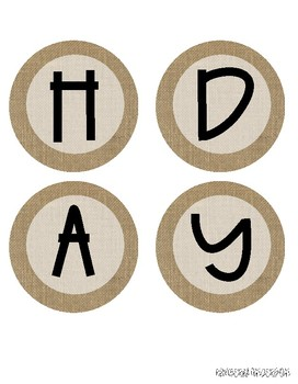 """BIRTHDAYS"" header / letters for Bulletin Boards: Farmhouse Burlap"