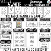 {BLACK AND WHITE} Journeys 5th Grade Focus Wall Set  + Editable Posters