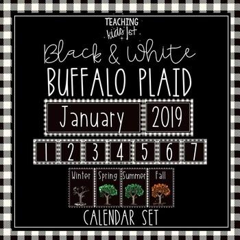 {BLACK & WHITE BUFFALO PLAID} CALENDAR SET + WEATHER WHEEL