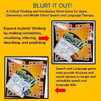 """BLURT!"" A Speech and Language Game Companion for 1st Grade and Up"