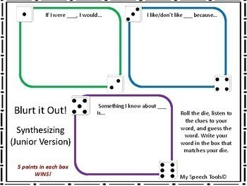 """""""BLURT it Out!"""" A Speech and Language Game Companion (4th-8th grade)"""