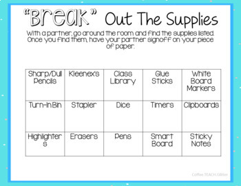 """""""BREAK"""" Out The Supplies -- WINTER EDITION--EDITABLE"""