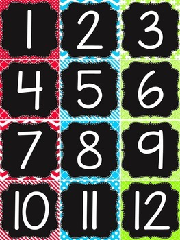 {BRIGHT COLORS} 120 Pocket Chart Numbers