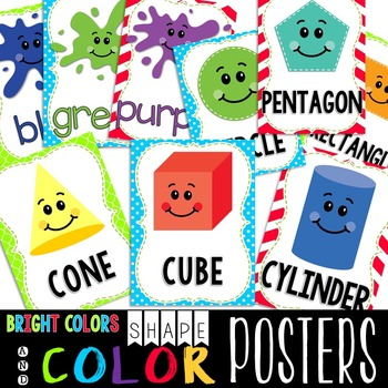 {BRIGHT COLORS} 2D & 3D Shapes and Color Posters
