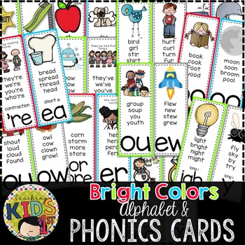 {BRIGHT COLORS} Alphabet & Phonics Cards