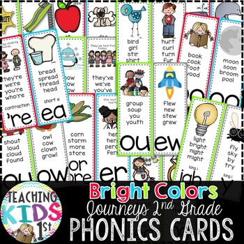{BRIGHT COLORS} Journeys 2nd Grade Phonics Cards