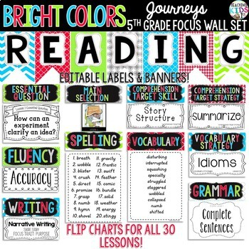 {BRIGHT COLORS} Journeys 5th Grade Focus Wall Set  + Editable Posters