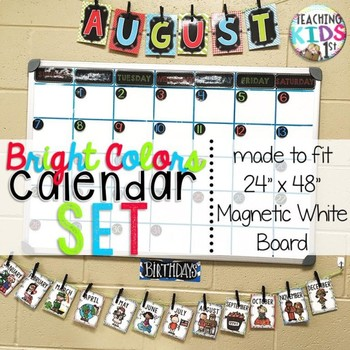 "{BRIGHT COLORS} Large Calendar Set for 24"" x 48"" White Board"