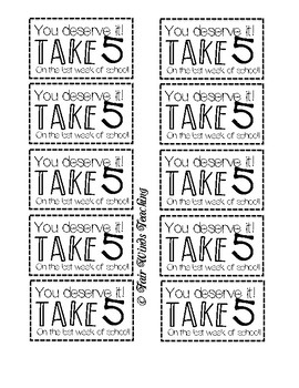 Take 5 Teacher tags (End of the Year)
