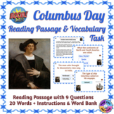 Columbus Day: Reading Passage & Vocabulary Task Boom Cards
