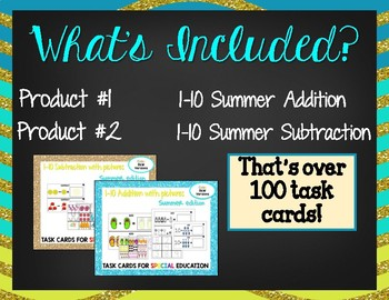 *BUNDLE*  1-10 Summer Math Task Cards (with visuals)