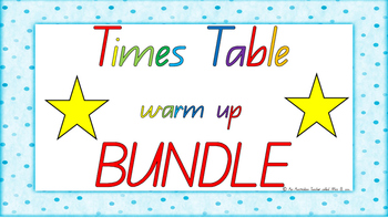 **** BUNDLE **** 1-12 Times Table Warm Up ACARA C2C Common Core aligned