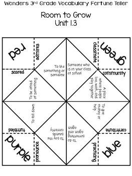 3rd Grade Wonders Unit 1 Vocabulary Fortune Tellers