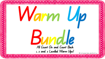 ***BUNDLE *** 6 Levelled Count on/back warm ups ACARA/ C2C/ CCSS aligned
