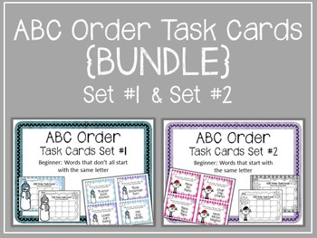 {BUNDLE} ABC Order. Task Cards. Set 1 & 2 Center. Alphabetical Order