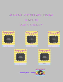 ***BUNDLE!!*** Academic Vocabulary Flipbook for Google Drive CCSS: ALL STANDARDS