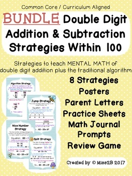 ** BUNDLE ** Double Digit Addition and Subtraction Strategies