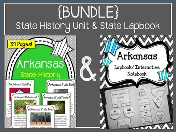 {BUNDLE} Arkansas State History Unit and Arkansas State Lapbook/ Interactive