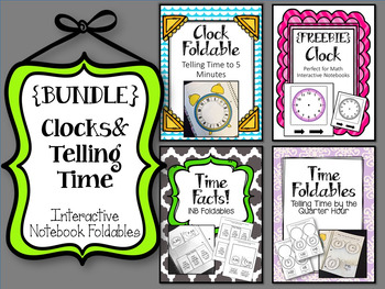 {BUNDLE} Clocks and Telling Time Foldables. Math Interactive Notebooks.