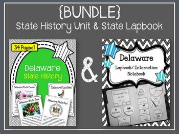 {BUNDLE} Delaware State History Unit & State Lapbook. US History. State Symbols