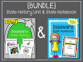 {BUNDLE} Delaware State Notebook & State History Unit. US History. State Symbols